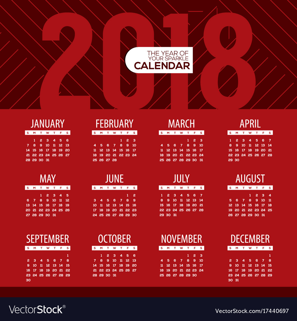 2018 modern red graphic printable calendar Vector Image