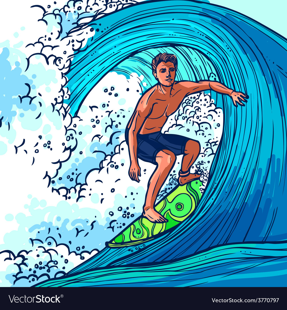 Как рисовать сёрфинг