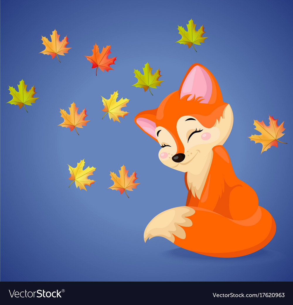 Cute fox cartoon characters