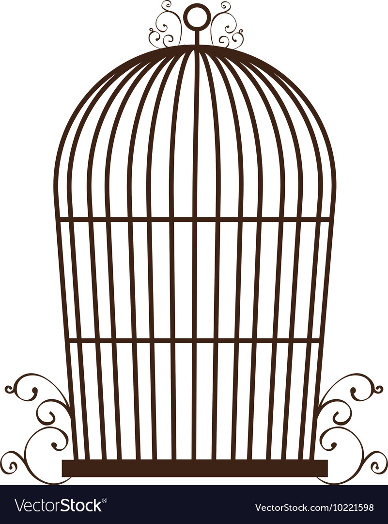 Empty birdcage silhouette