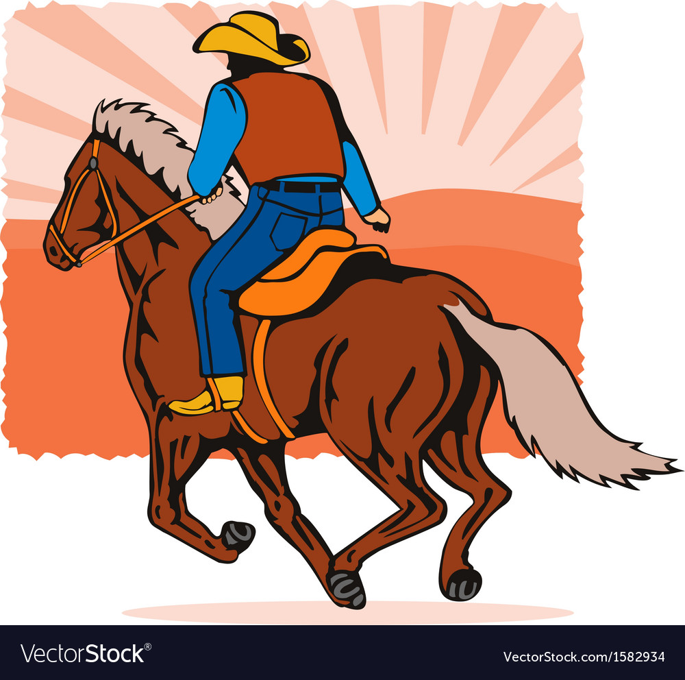 Cowboy on horse cartoon