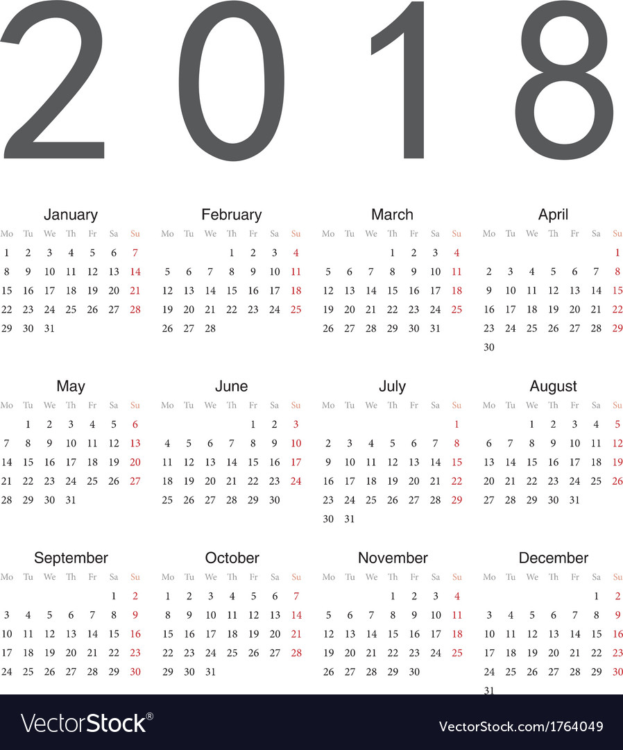 Simple european square calendar 2018 Royalty Free Vector