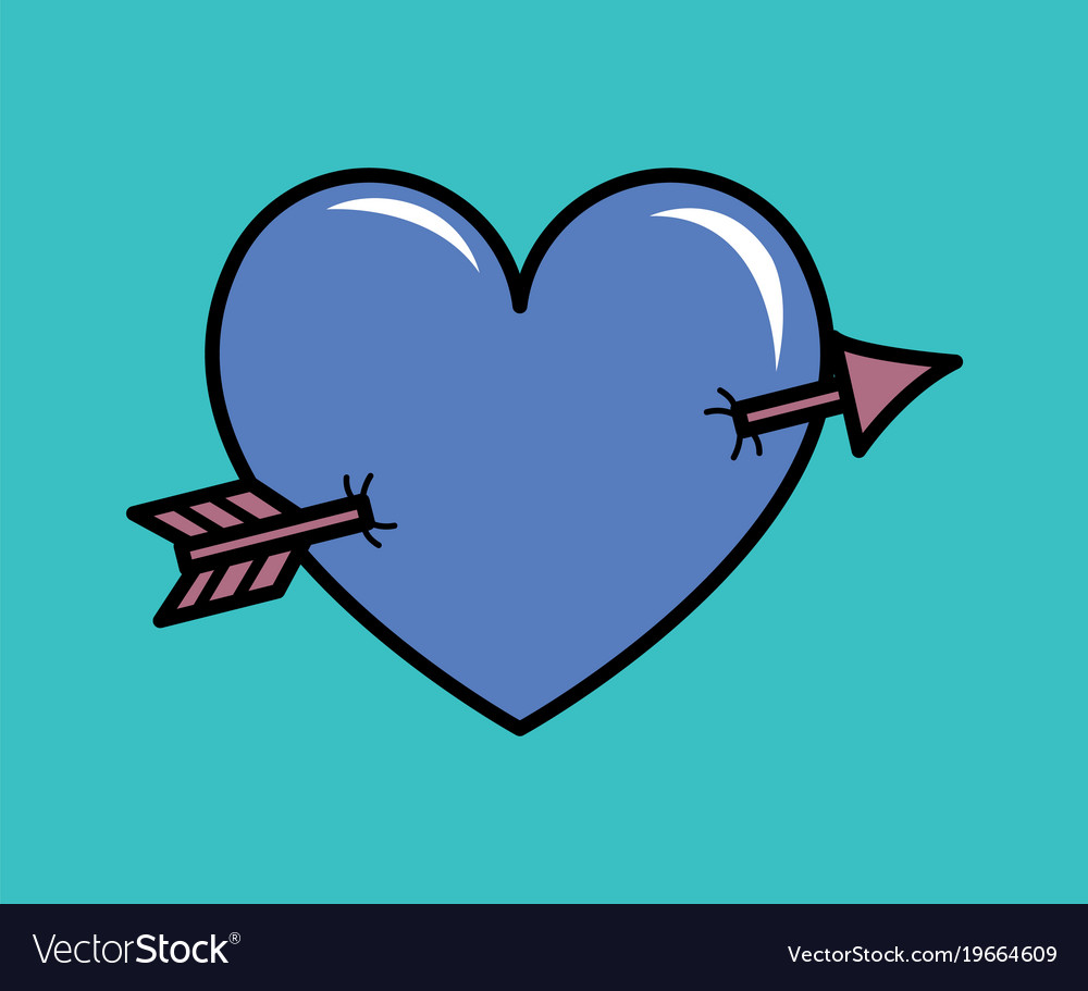 Vector heart with arrow