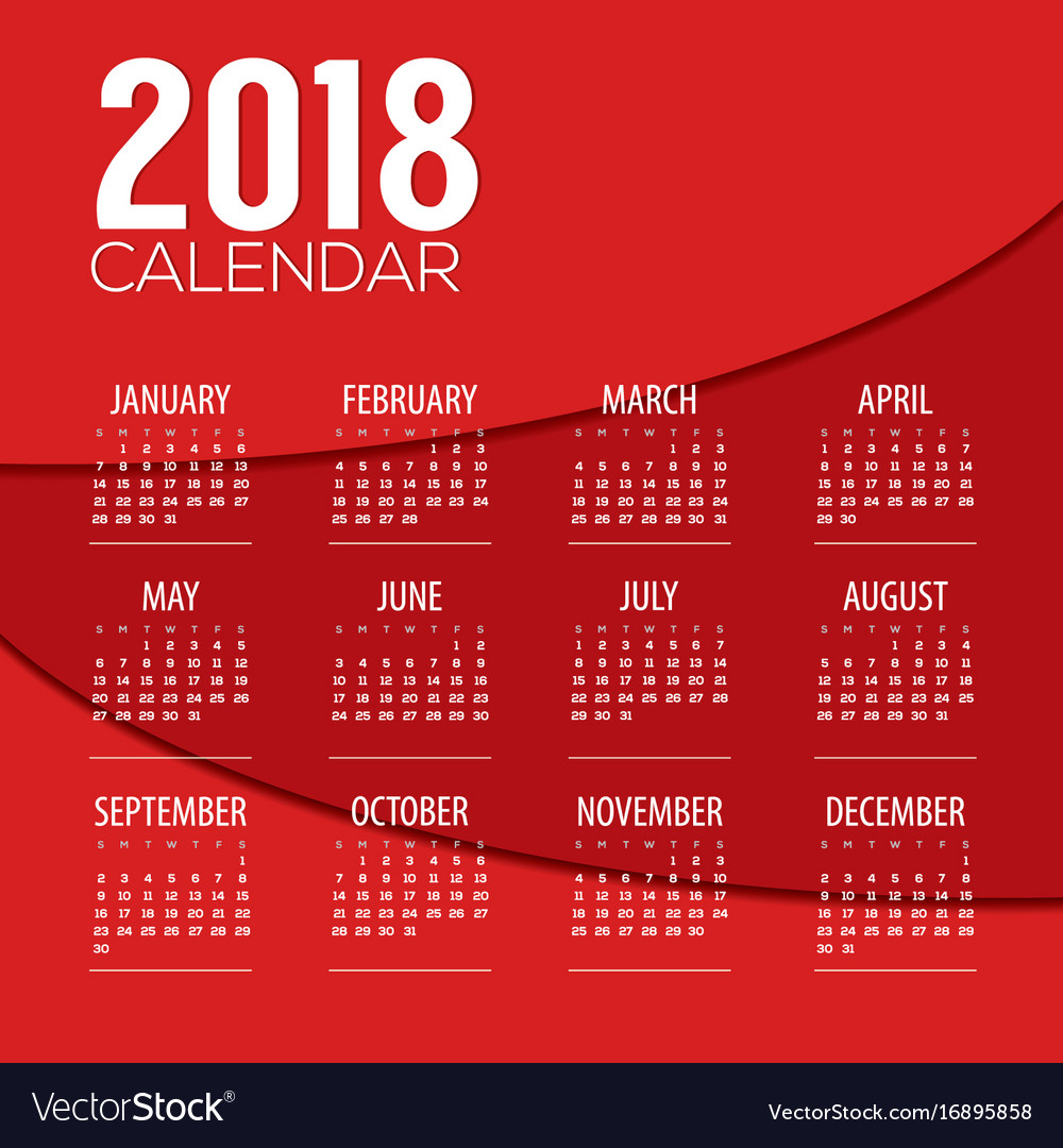 2018 red abstract graphic printable calendar Vector Image