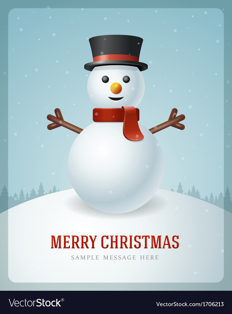 Christmas Snowman Vector illustration Snowman Isolated on
