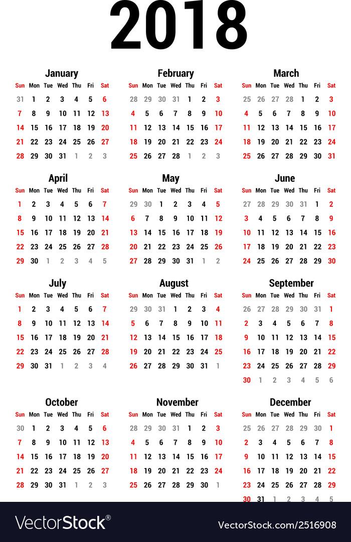 Calendar 2018 Royalty Free Vector Image - VectorStock