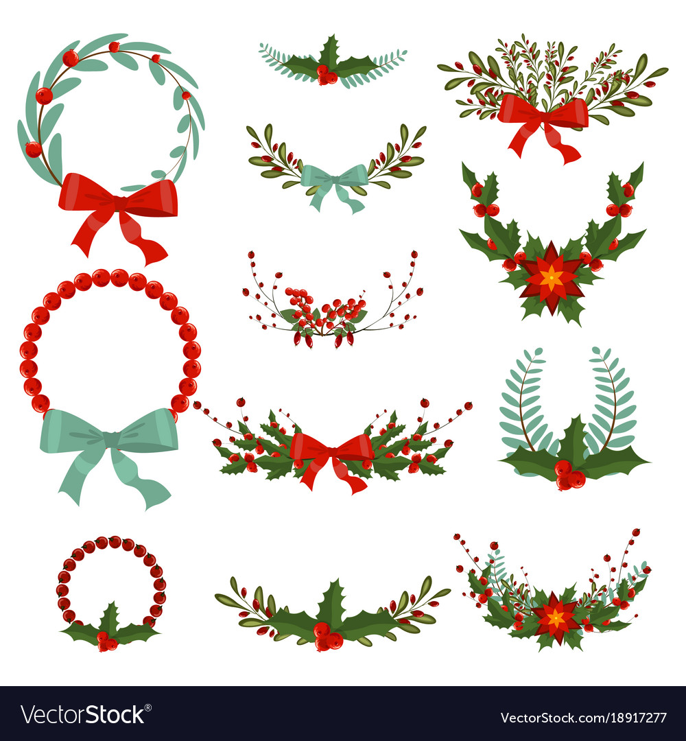 Amazing christmas wreath vector images