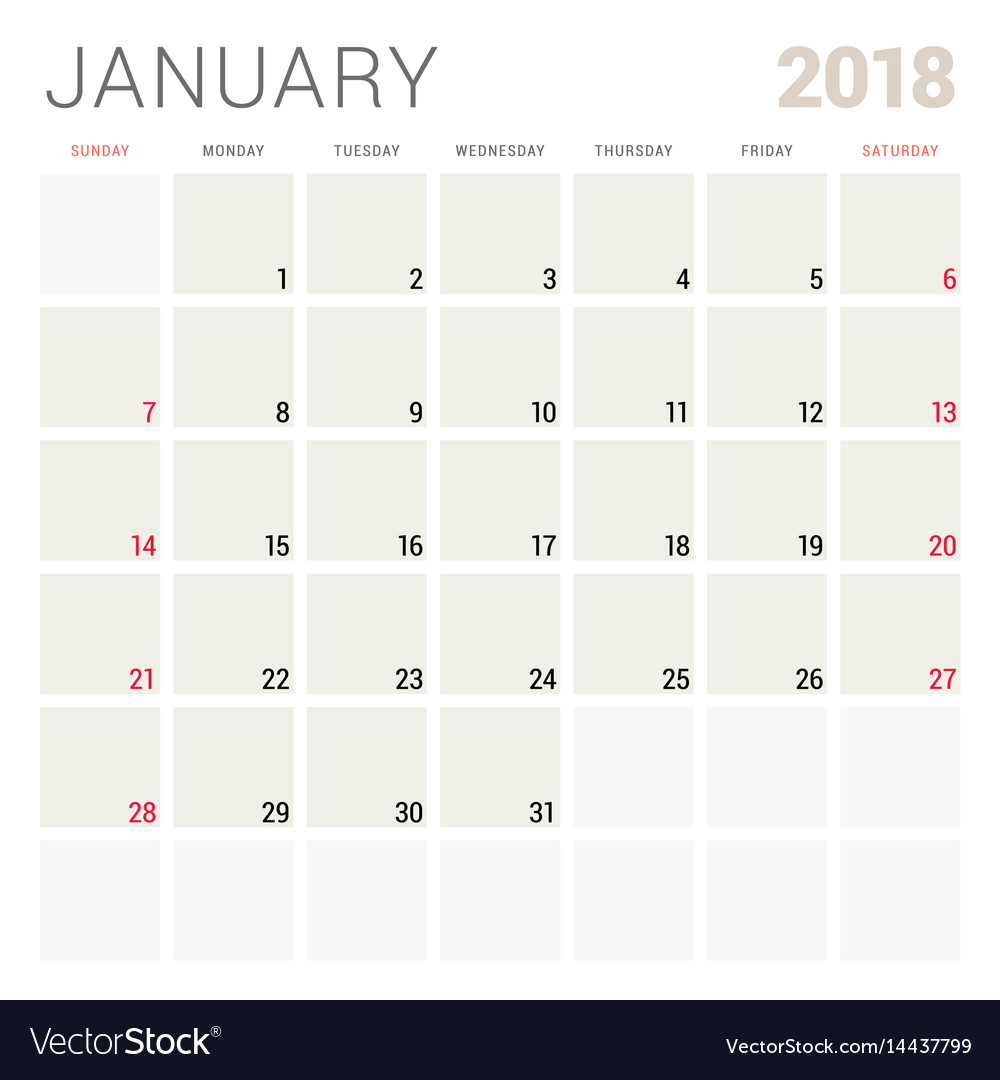 January 2018 calendar planner design template Vector Image