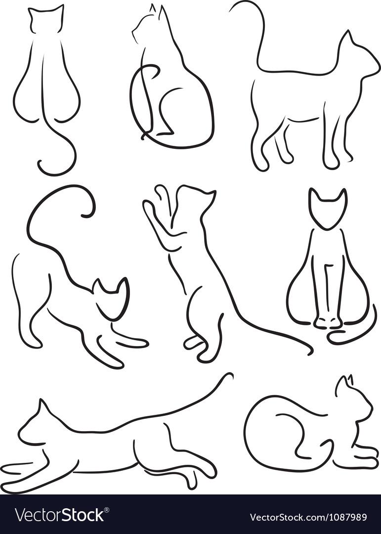 Рисунок кошка из линий