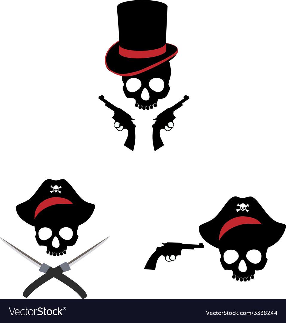 Pirate skull and guns