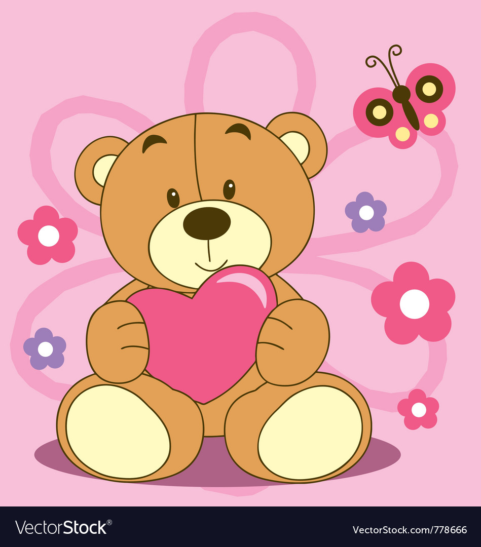 Cute cartoon bears with hearts