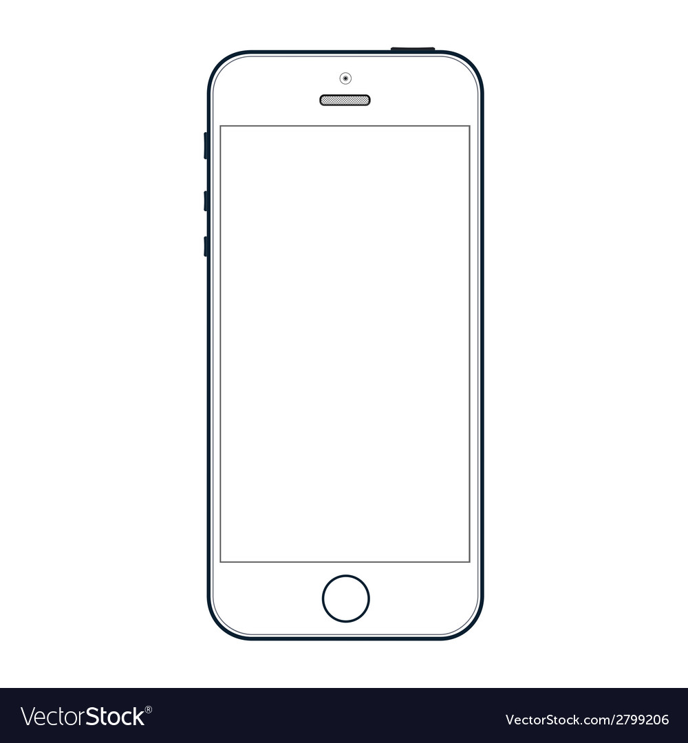 Realistic Black Iphone S With Blank Screen Vector Image