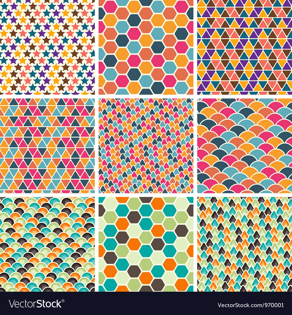 Retro geometric patterns vector