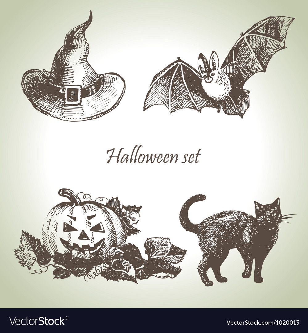 Hand drawn halloween set vector