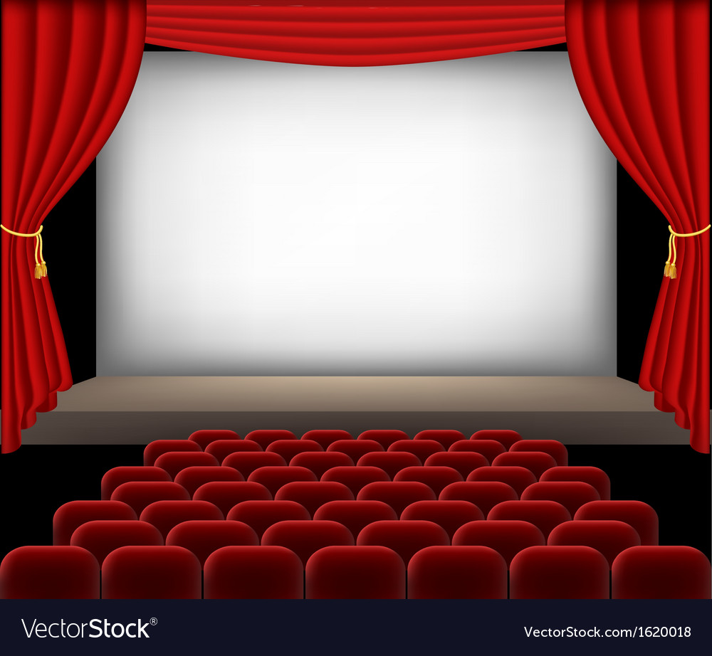 Cinema auditorium with red seats and curtains vector