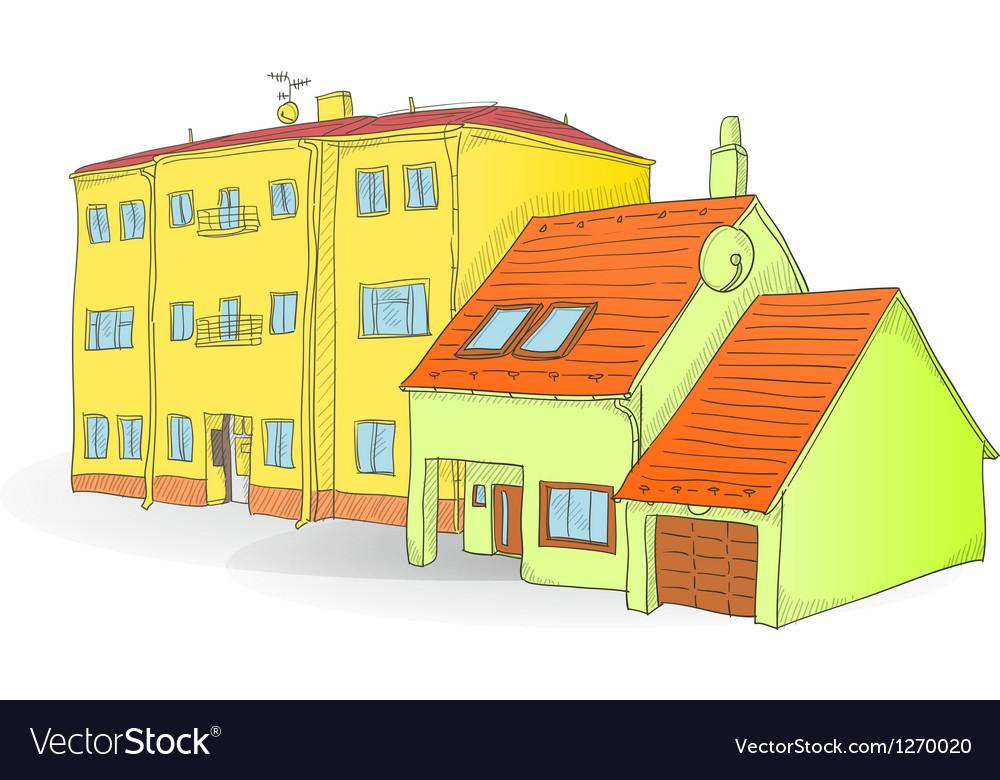 Handmade buildings vector