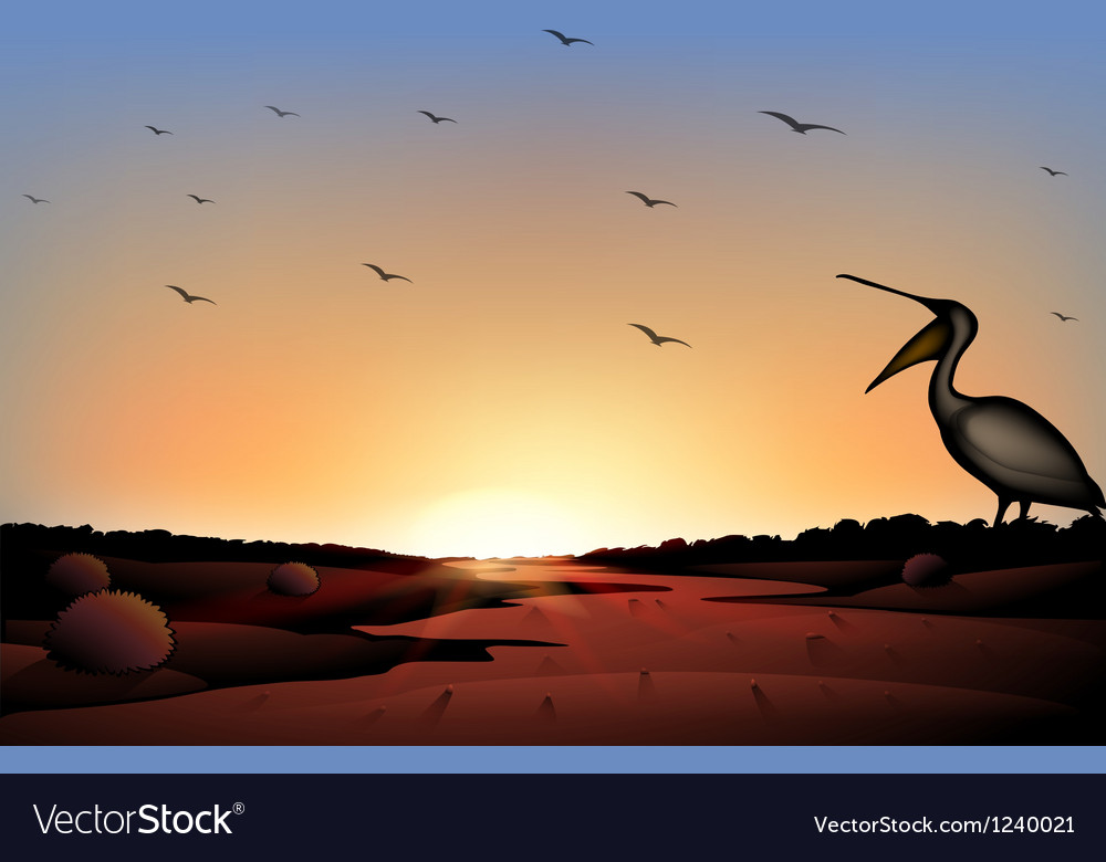 A sunset at the desert with a flock of birds vector