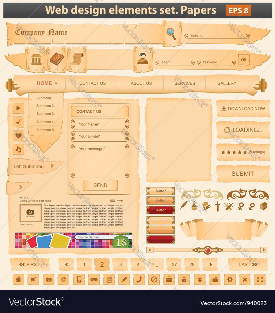 Web design elements set paper vector