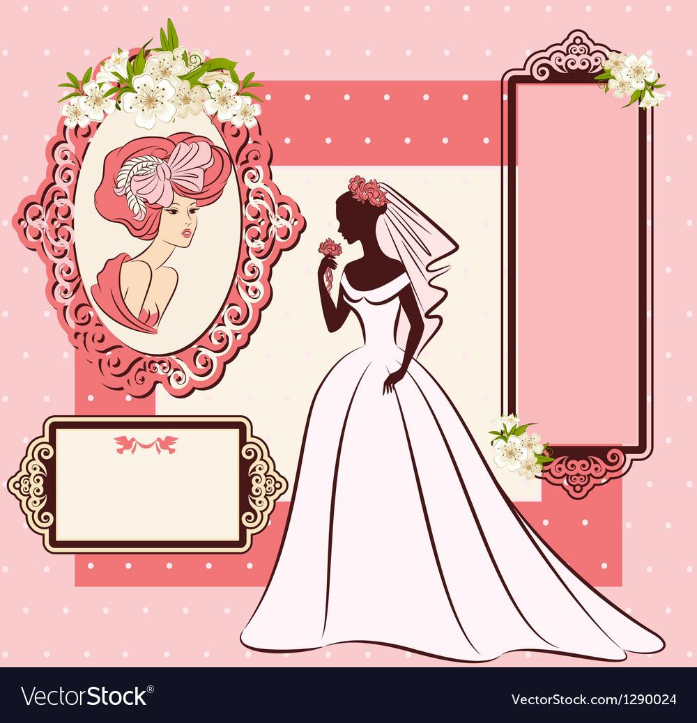 Beautiful bride in dress vector
