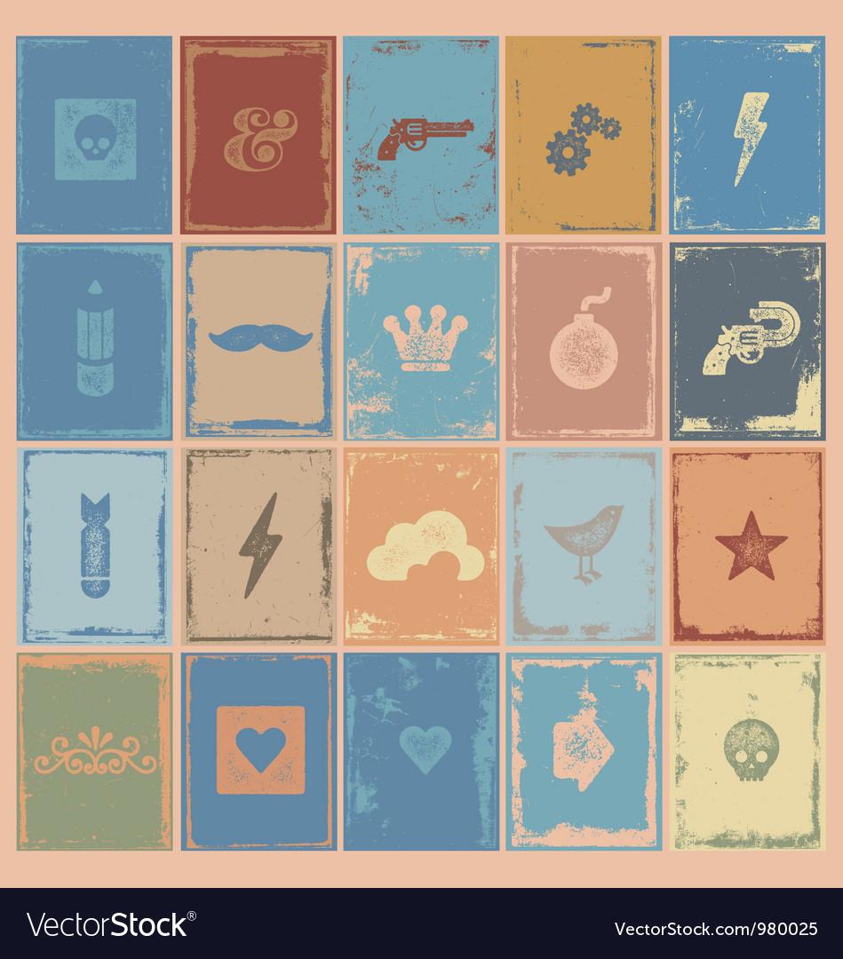 Poster symbols grunge vector