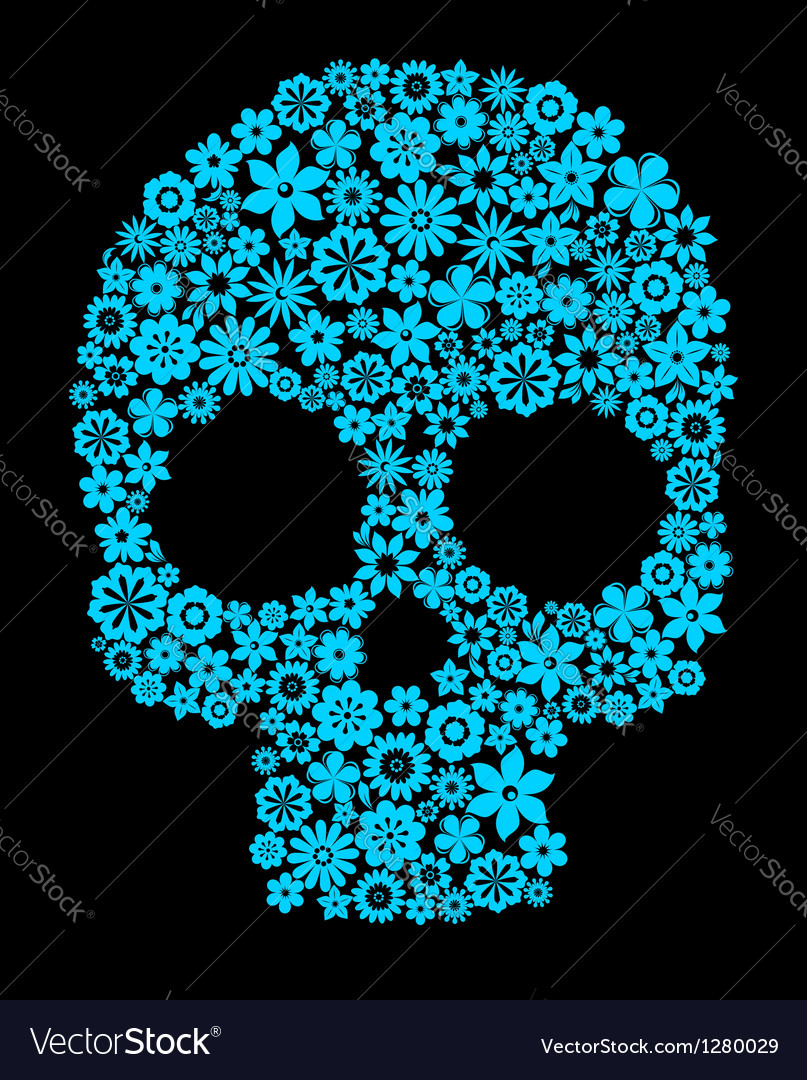 Human skull with flower elements vector