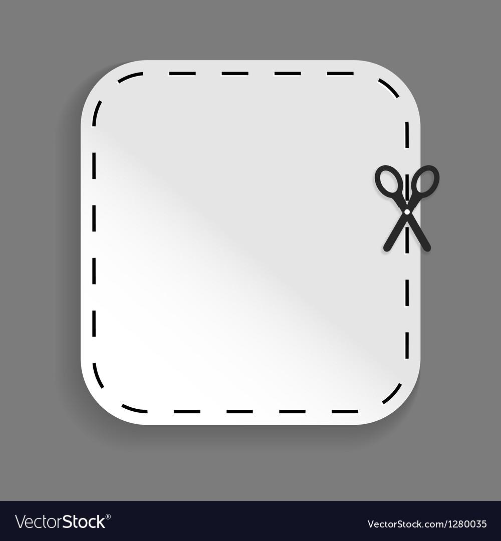 Scissors cutting sticker vector