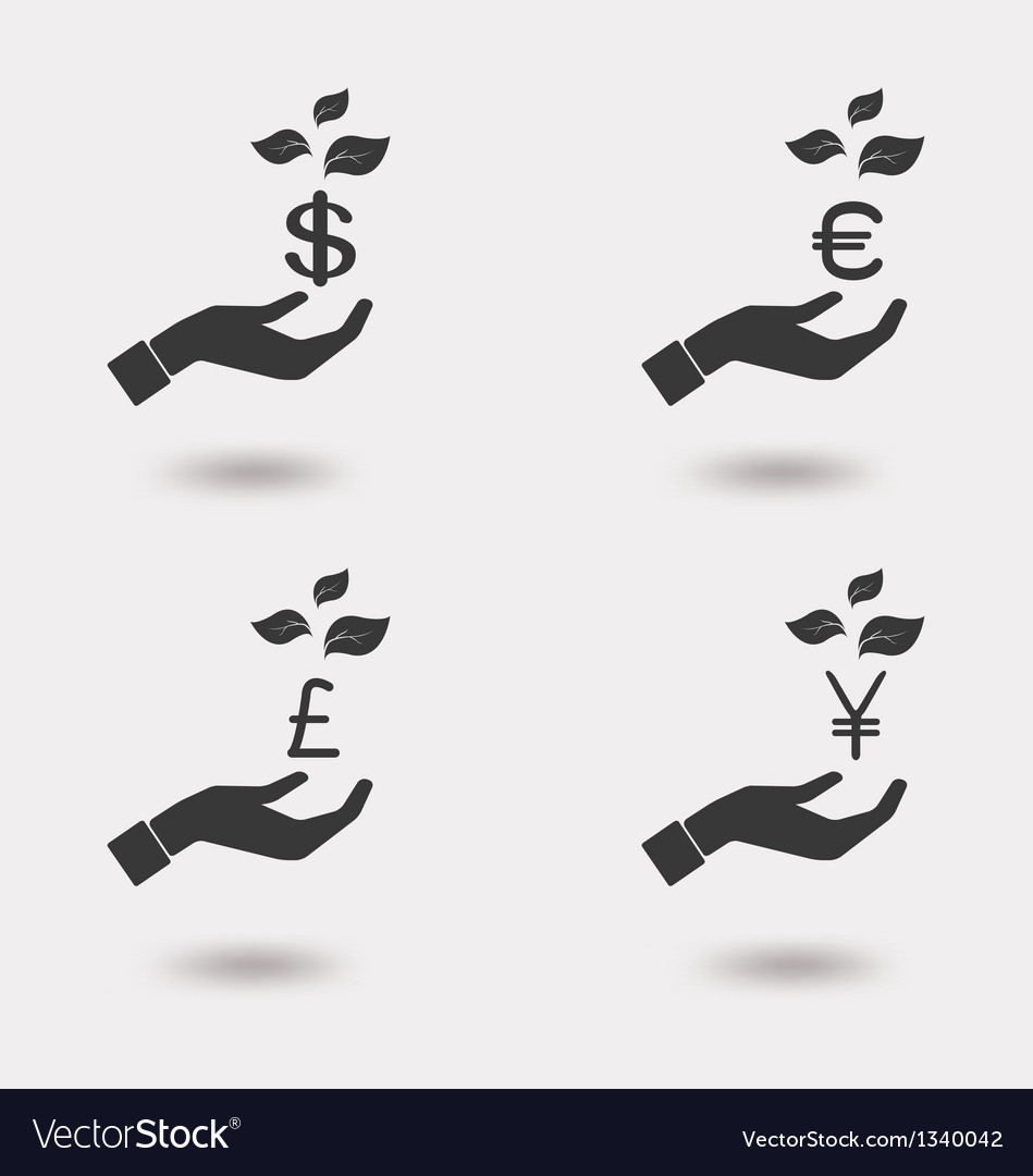 Hand with growing money icon vector
