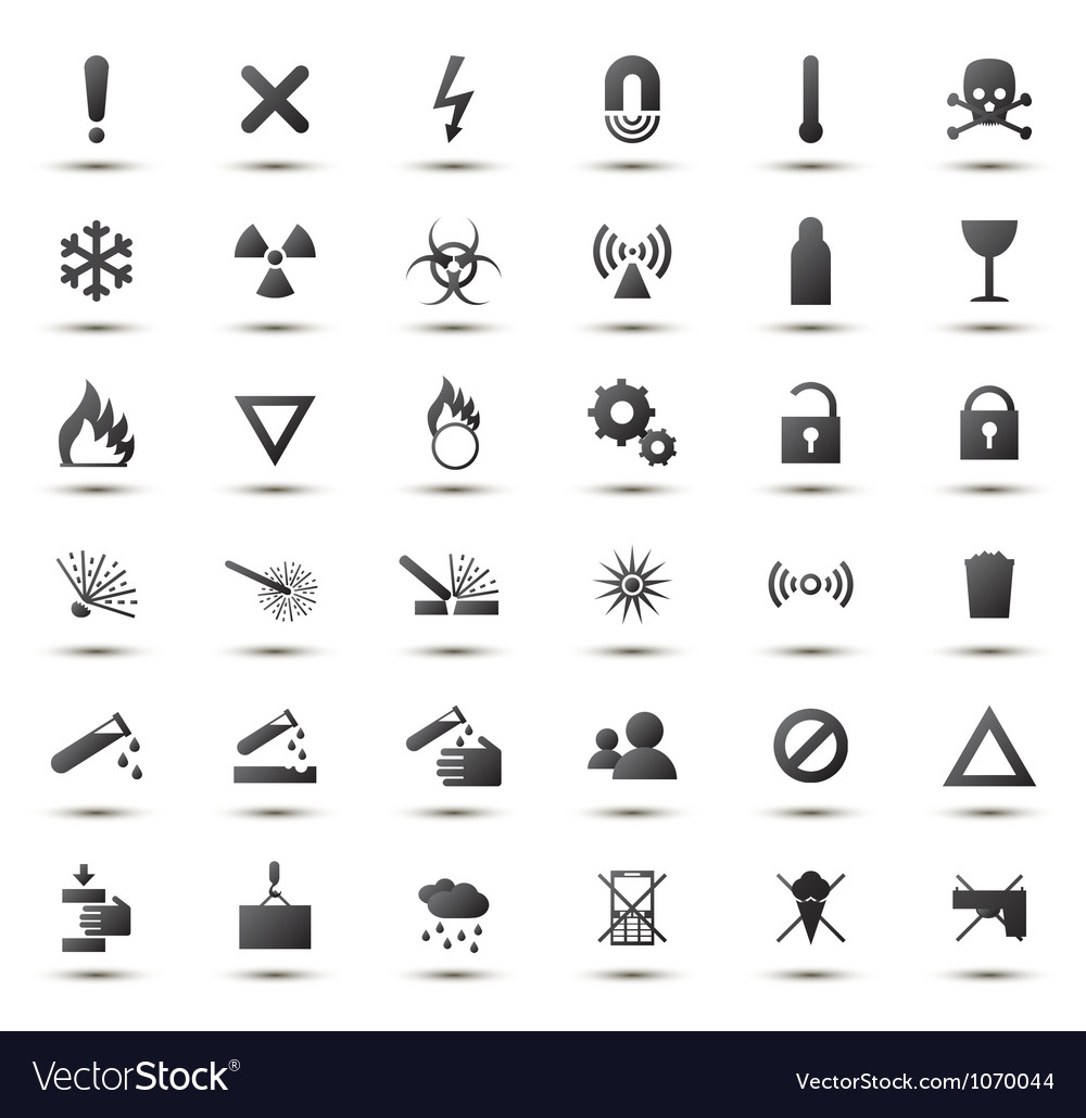Black warning and danger signs collection vector