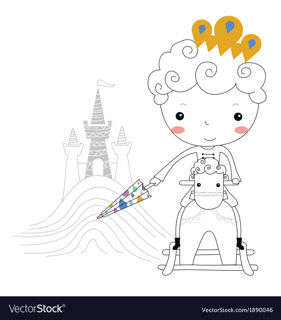 Fairytale prince -rain kids vector