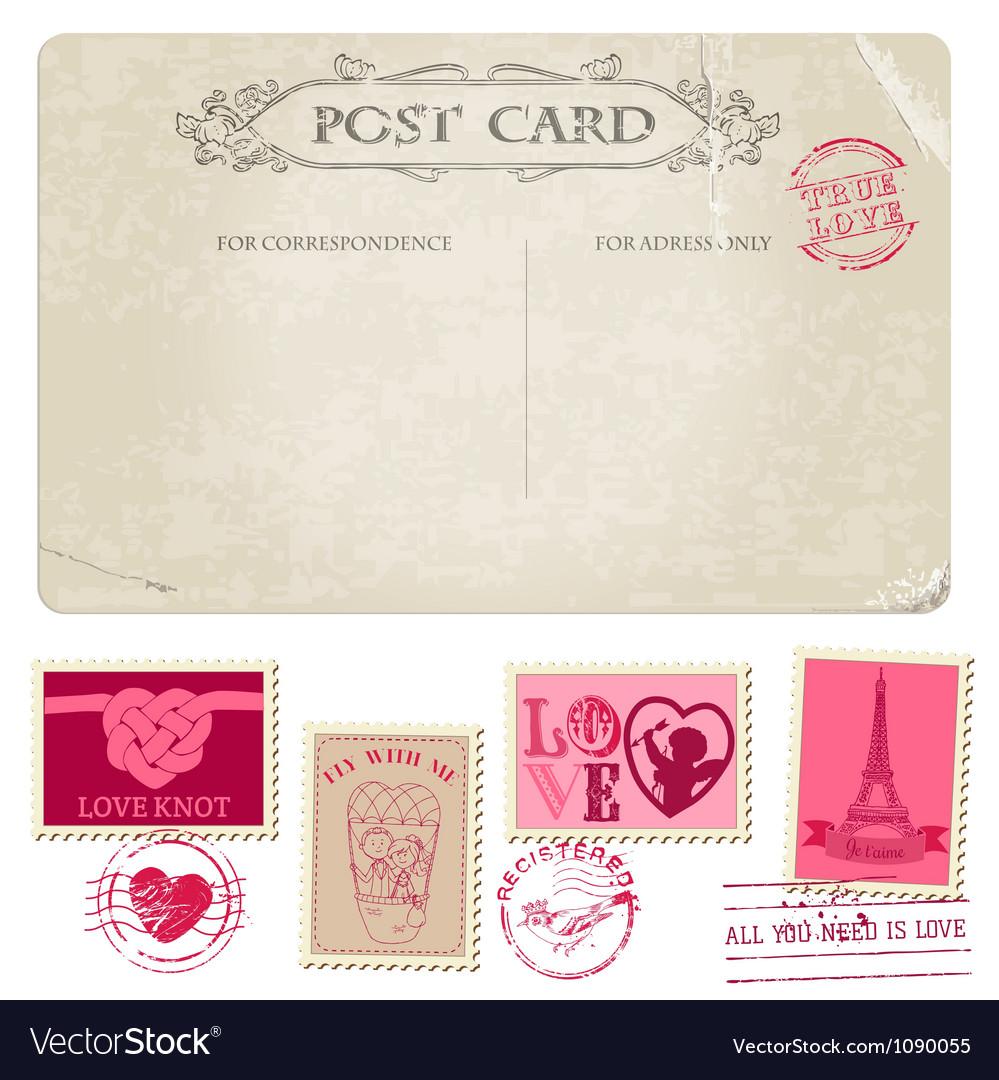 Vintage christmas postcard and stamps vector