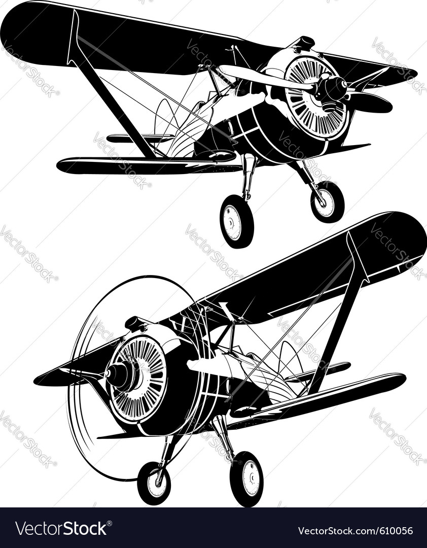 Retro biplane vector