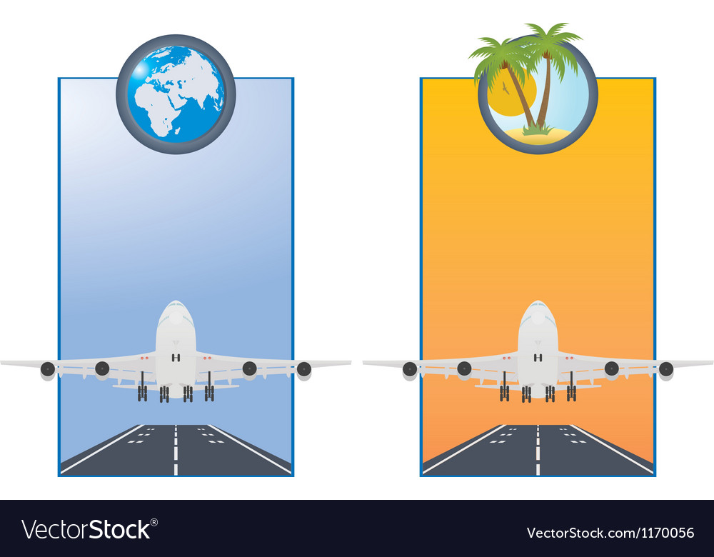 Taking off airplane vector