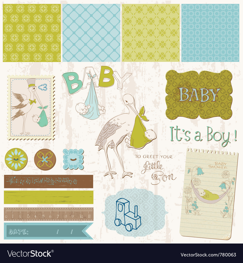 Scrapbook vintage design elements vector