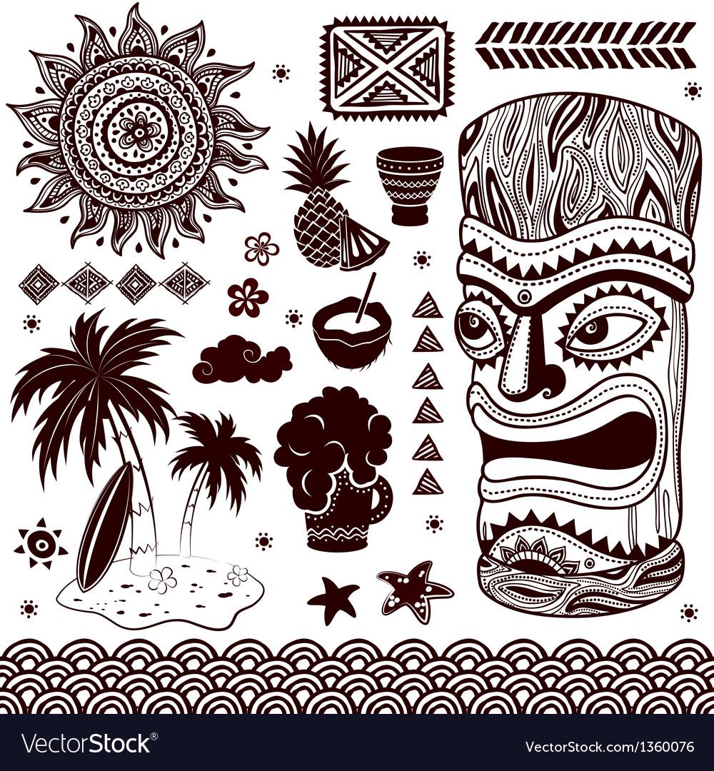 Vintage aloha tiki vector