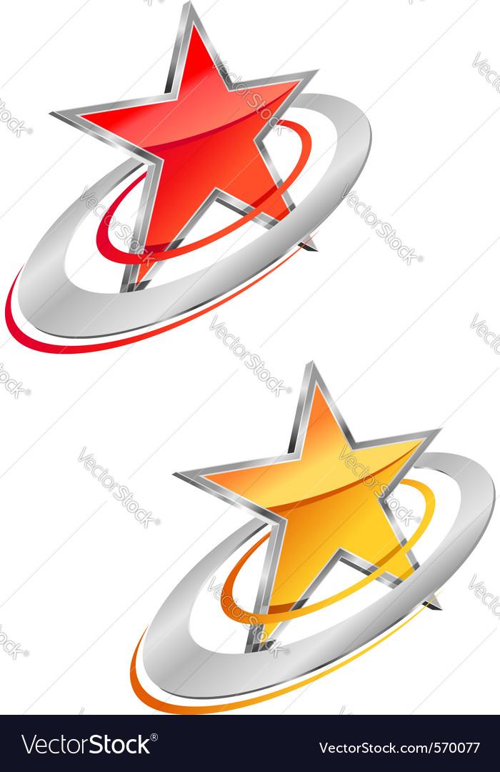 Glossy star symbols vector