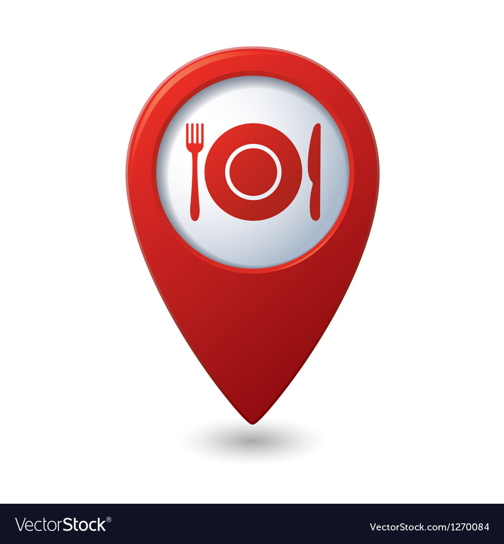 Map pointer with restaurant icon vector