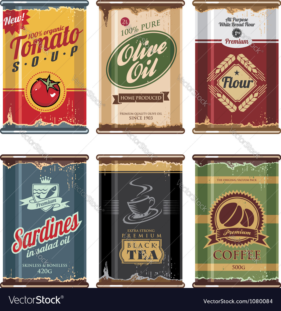 Retro food cans collection vector