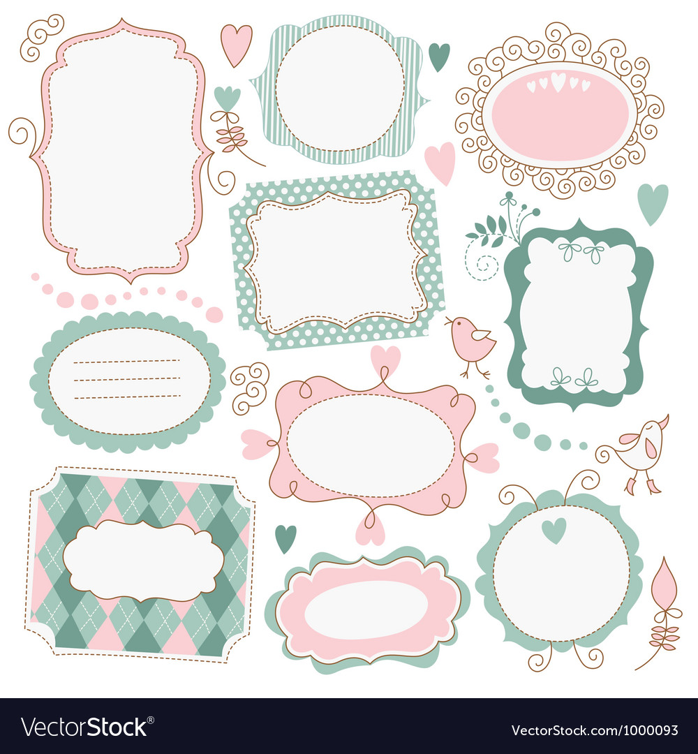 Set of romantic frames vector