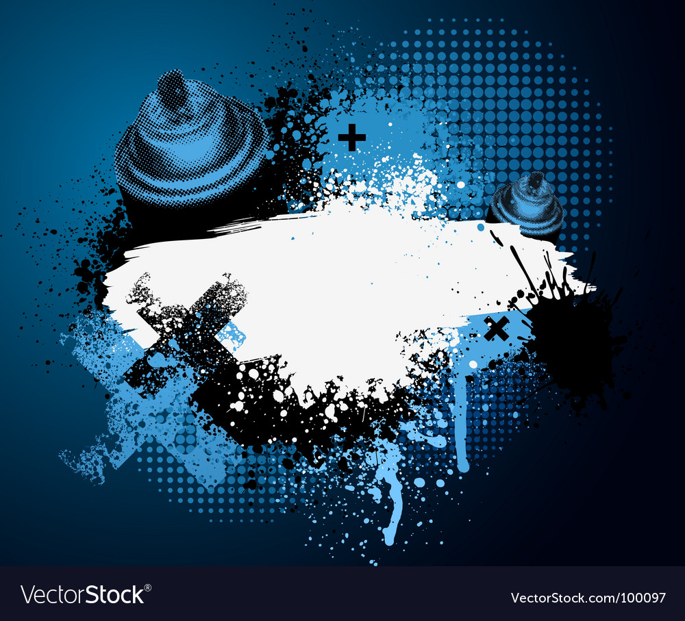 Blue graffiti with spray can vector