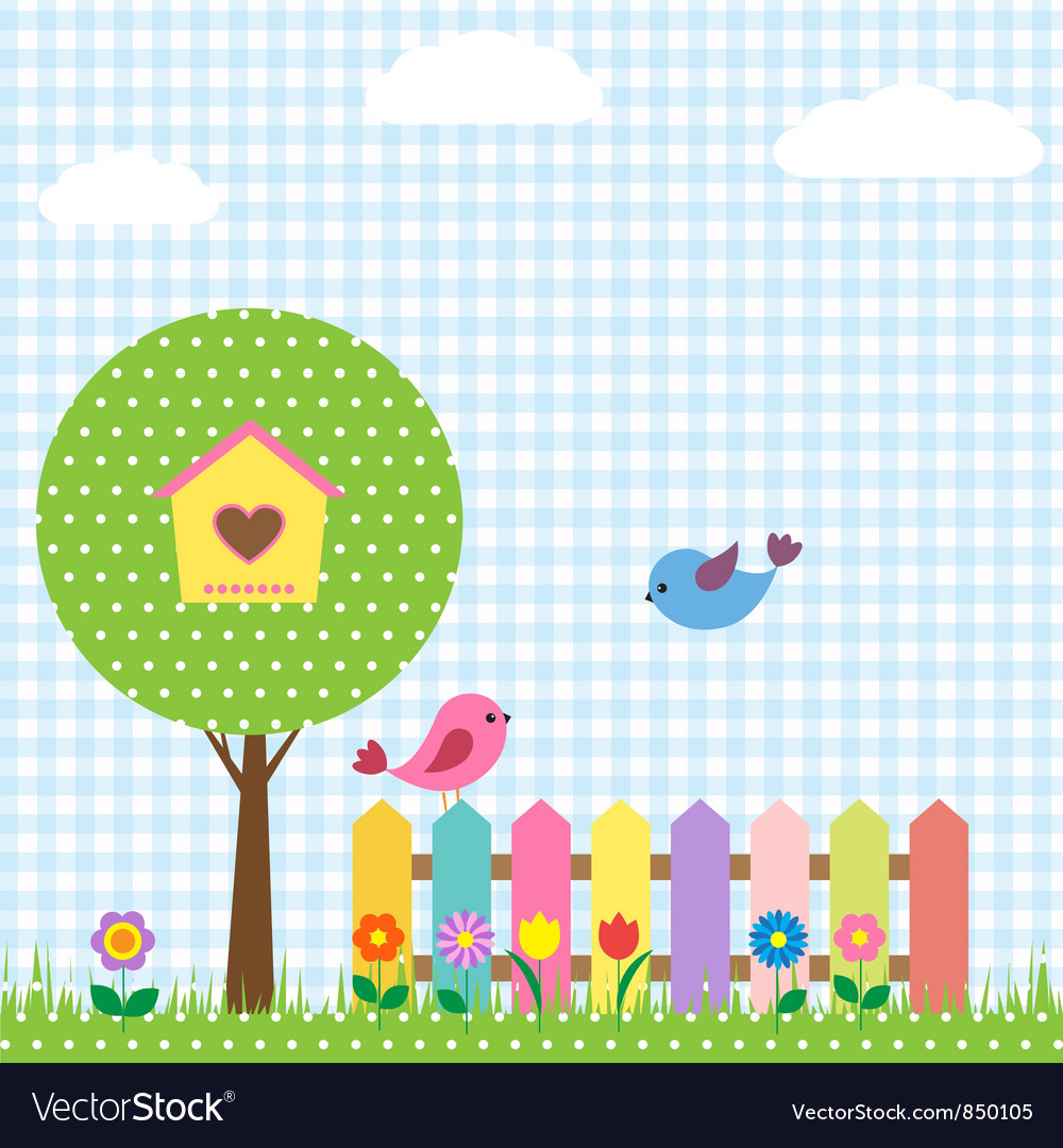 Birds and birdhouse vector