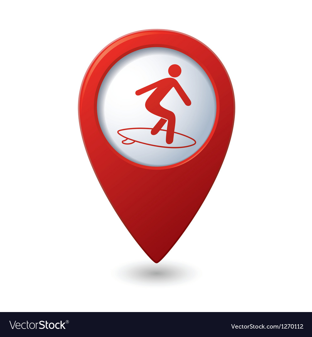 Map pointer with man on surf icon vector