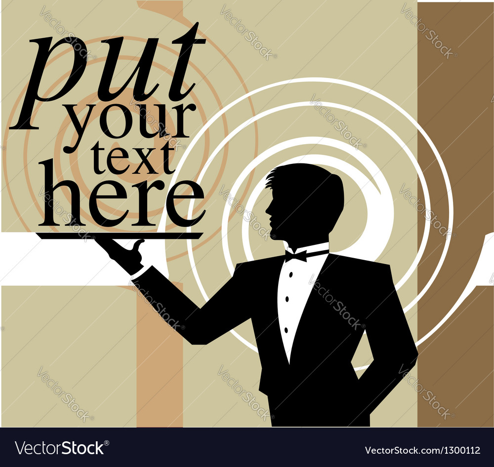 Waiter holding an empty tray vector