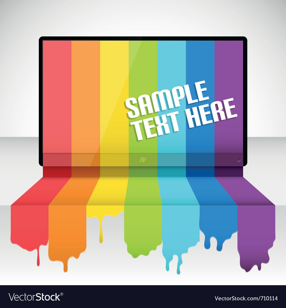 Tv with rainbow paint vector