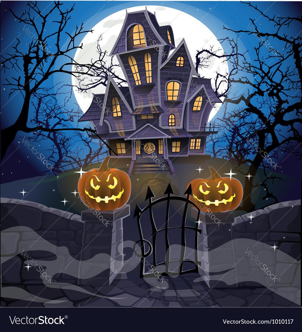 Happy halloween cozy haunted house behind a wall vector