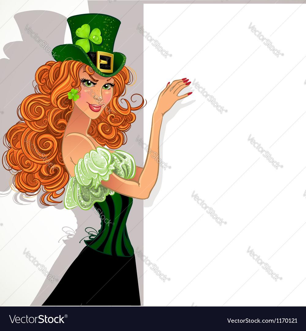 Pretty slim red-haired girl leprechaun hold banner vector