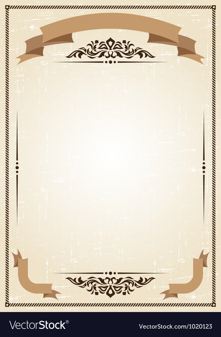 Vintage frame at grunge background with retro vector