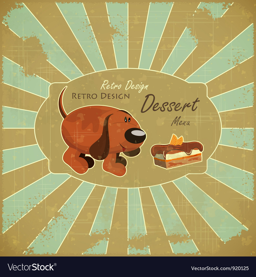 Cartoon dog and cake vector