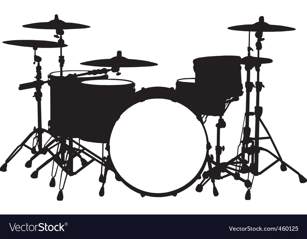 Drum kit vector by rheyes - Image #460125 - VectorStock White Drum Set Silhouette