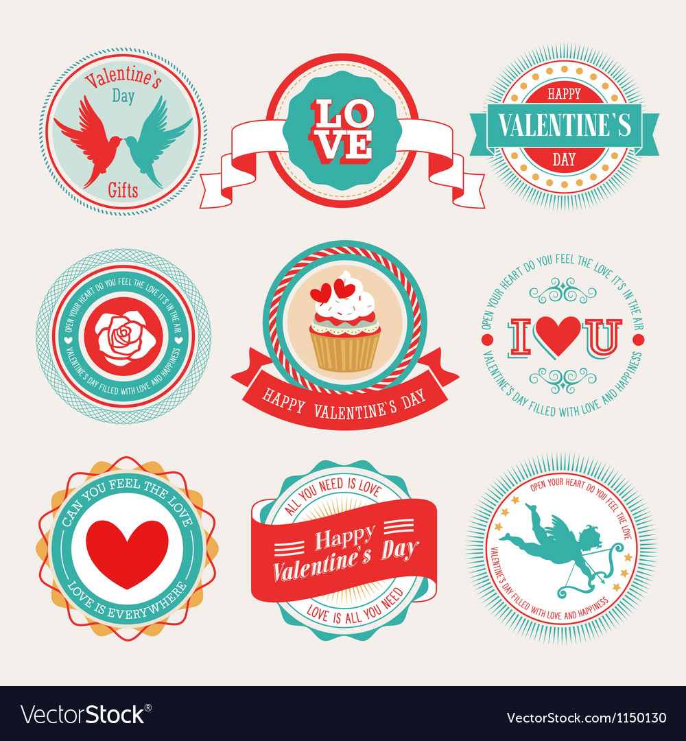 Valentine labels 2 vector