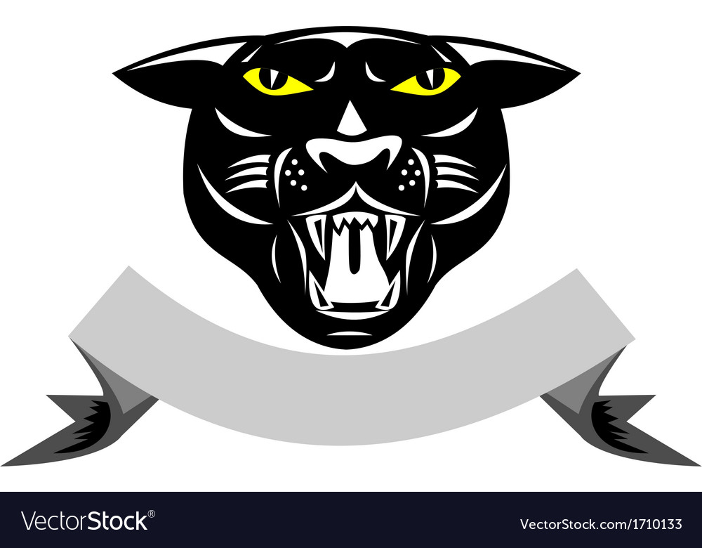 Black panther big cat grow head isolated vector